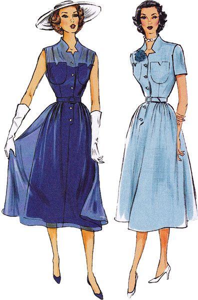 1950s Vintage Reproduction Pattern: Misses Dress, Belt ...