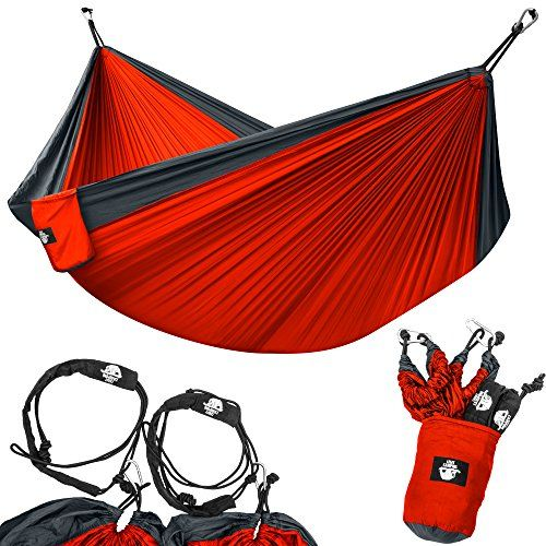 Legit Camping - Double Hammock - Lightweight Parachute Portable Hammocks for Hiking , Travel , Backpacking , Beach , Yard . Gear Includes Nylon Straps & Steel Carabiners (Charcoal/Red). QUALITY YOU CAN CRASH ON: With this Double Camping Hammock from Legit Camping, you'll have everything you need to relax in complete comfort on your next camping or hiking trip. Heading to the beach or taking in a festival? Don't leave home without your parachute hammock. With its lightweight, spacious design…