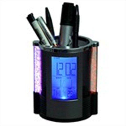 Round Digital Calendar Clock+ Timer+ Alarm+ Temperature+ Pen Holder w/ Colorful Light Multi Function Tool- Black