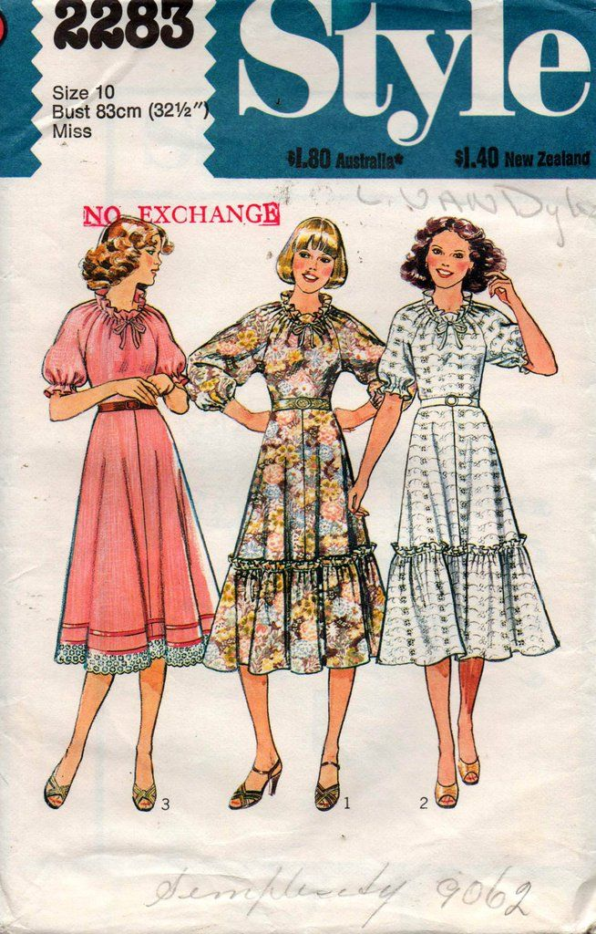 a5e5579c87d92 Style 2283 Womens Easy Raglan Sleeved Peasant Dress 70s Vintage Sewing  pattern Size 10 Bust 32 1 2 UNCUT Factory Folds