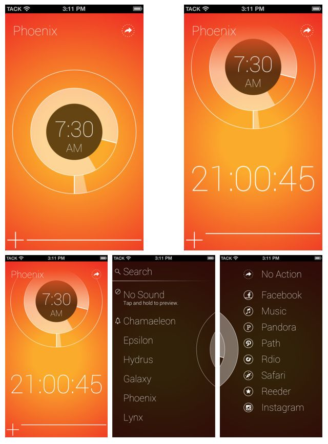 Start is a flat ui, gestured based alarm clock and stopwatch app by Tack Mobile.