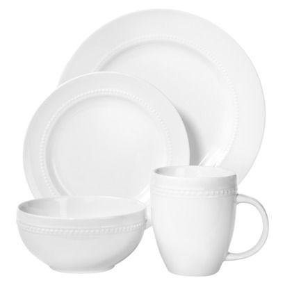 Threshold™ 16 Piece Round Beaded Dinnerware Set - White