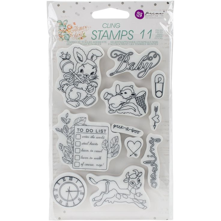 "Prima Marketing Heaven Sent Cling Rubber Stamps 4""X6""-"