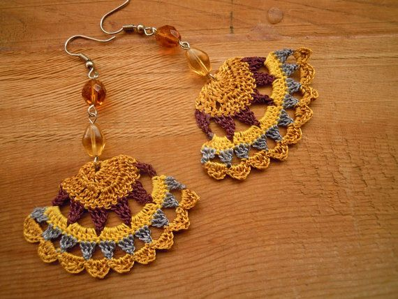 crochet earrings fanshaped mustard maroon yellow by PashaBodrum, $14.00