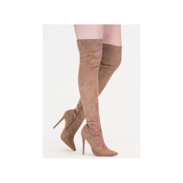 Thigh Zone Pointy Over-The-Knee Boots ($39) ❤ liked on Polyvore featuring shoes, boots, over-the-knee boots, tan, tan high heel boots, tan boots, pointed over the knee boots, over the knee stiletto boots and over-the-knee high-heel boots