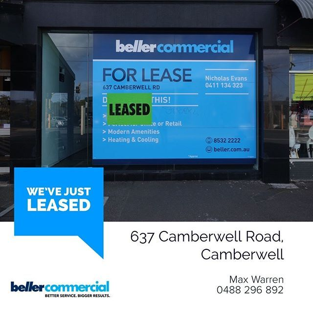Weve Just Leased 637 Camberwell Road Camberwell Building Area 52