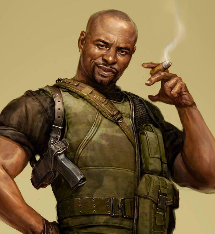 shadowrun; male; human; cop or soldier; bald; black-skinned