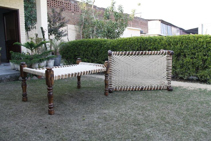 Indian Traditional Wooden Day Cots - manji