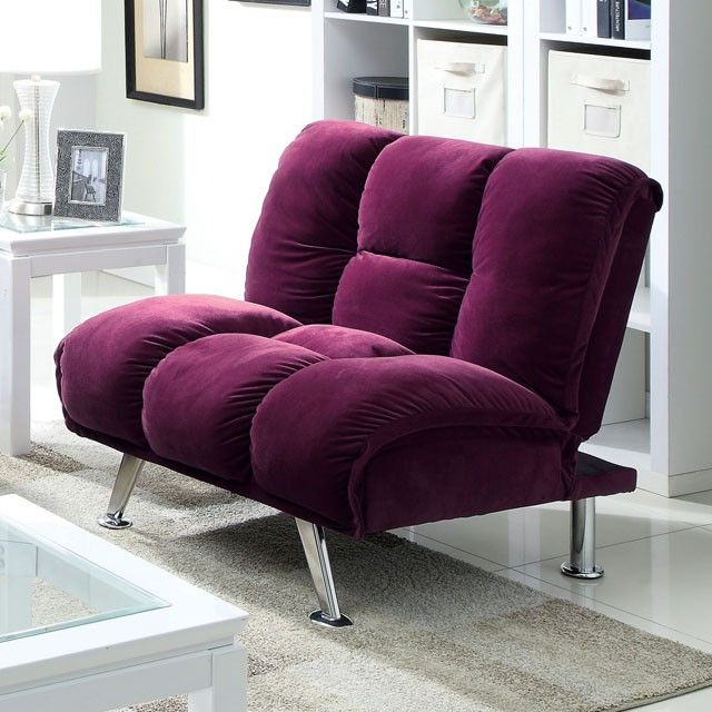 """Maybelle Chair CM2908PR-CH $148  Description:   Stylish chrome legs accent this contemporary dark chocolate corduroy futon and matching chair. Both quickly fold down to make a comfortable bed, or fold down the chair and arrange as a chaise..  Features:    Contemporary Converts into Bed Padded Corduroy Chrome Legs Chocolate Dimension:   Chair : 38""""W X 34""""D X 35 1/4""""H (Seat Ht19"""", Seat Dp21 1/2"""")"""