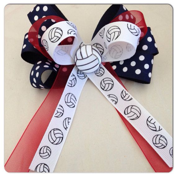 Volley Ball Sports Hair Bow on Etsy, $5.00