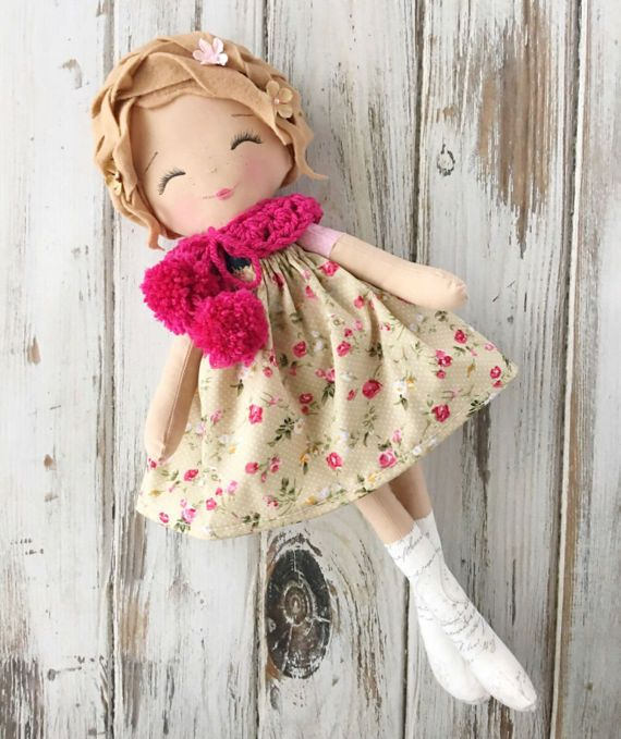 Mags ~ SpunCandy Doll, Handmade Doll, Rag Doll, Nursery Decor, Kids Decor, Fabric Doll, Cloth Doll, Little Wanderer