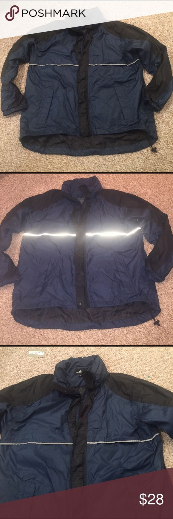 "The weather co Navy Blue anorak windbreaker coat l Great anorak by a he weather cold.  It zips up the front and then velcros closed.  Roll up hood.  Colors are Navy and black.  Chest 53"" length 30"" the weather co Jackets & Coats Windbreakers"