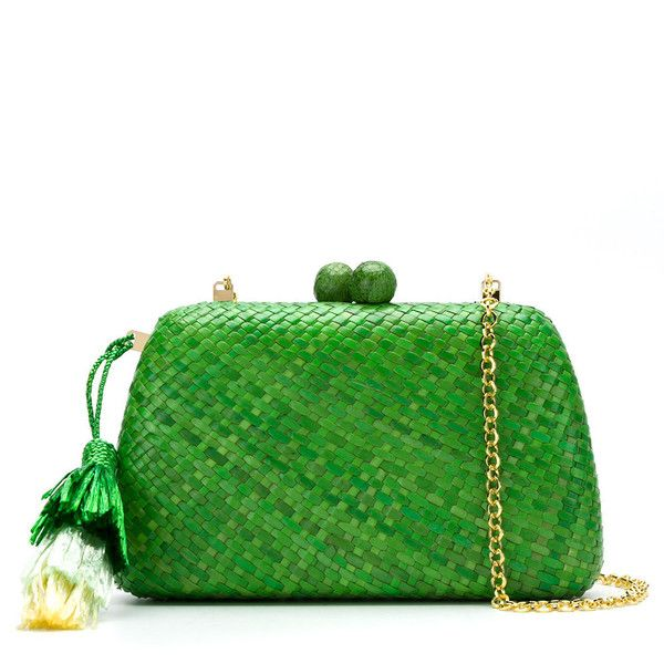 Serpui straw clutch bag ($328) ❤ liked on Polyvore featuring bags, handbags, clutches, green, green purse, green clutches, tassel clutches, green handbags and straw clutches