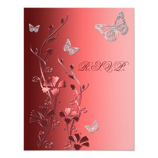 Red with Silver Butterflies Reply Card