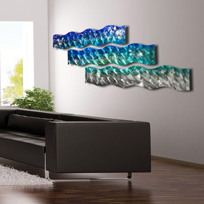 Large metal wall sculpture art modern abstract ocean blue painting home decor