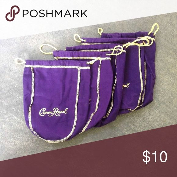 5 Crown Royal bags 5 Crown Royal bags from the standard 750ml size. Great for storing and organizing makeup and jewelry. Also good to use as dust bags. Bags