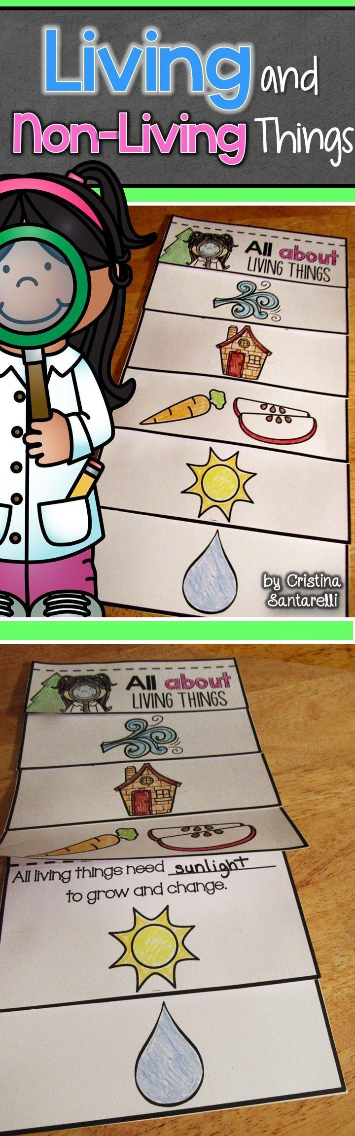 Grade One Standard: SC.1.L.14.3 Differentiate between living and nonliving things. This gives students a fun visual chart to help compare living and non-living things.