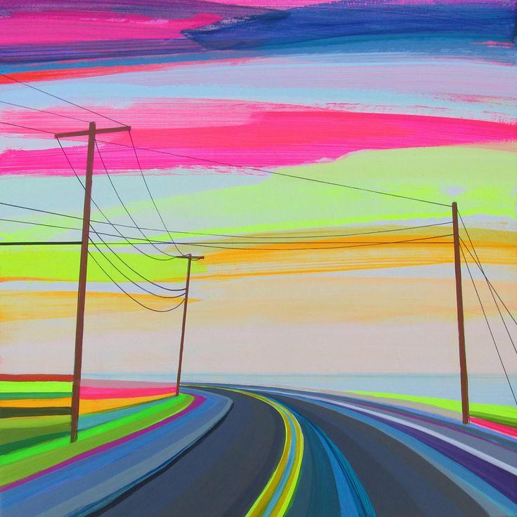 Neon Sunsets and Technicolor Landscapes Painted by Grant Haffner. Deeply influenced by a childhood spent growing up on Long Beach in Sag Harbor, N.Y., artist Grant Haffner tries to capture the color and feeling of sunsets burnt into his memories.