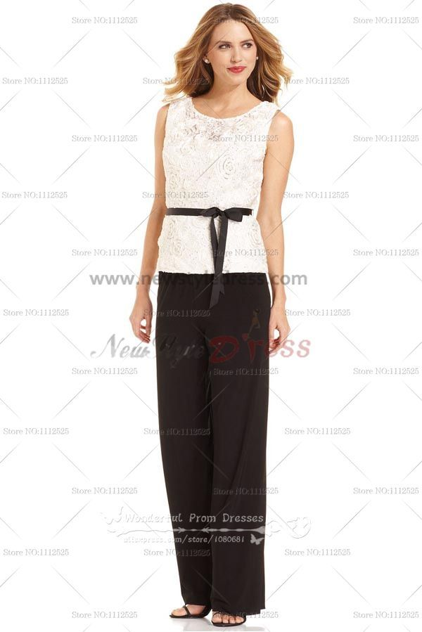 Lace Vest Mother Of The Bride Trousers Set For Beach Wedding