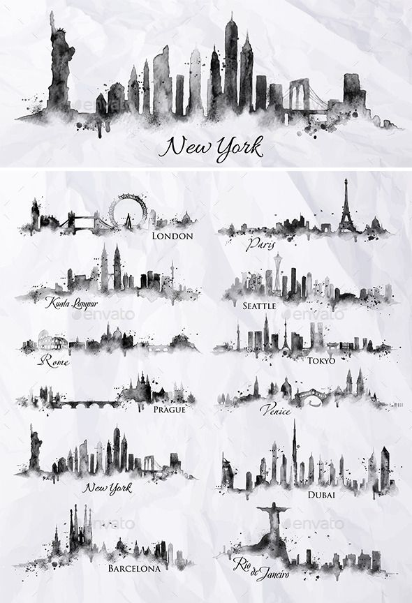 Black ink cities silhouettes with splashes of drop…