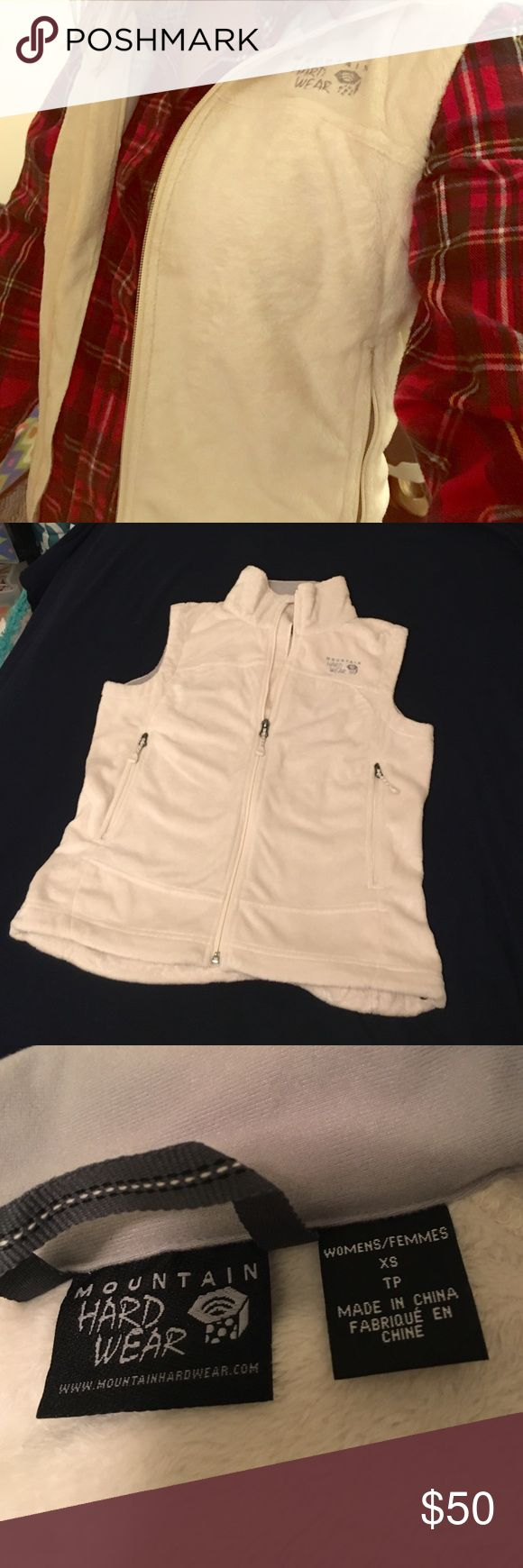 Cream Mountain Hard Ware Pyxis Stretch Vest Like new!  Never worn!  Creamy white in color. Super soft and fuzzy!  Super warm and perfect for winter or fall!  100% Polyester. Mountain Hard Wear Jackets & Coats Vests