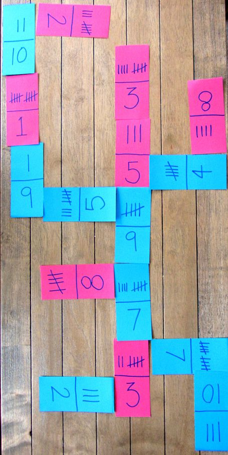 tally mark & digit dominoes (ooooh..... What if we make it with place value & the numbers?? Awesome!!)