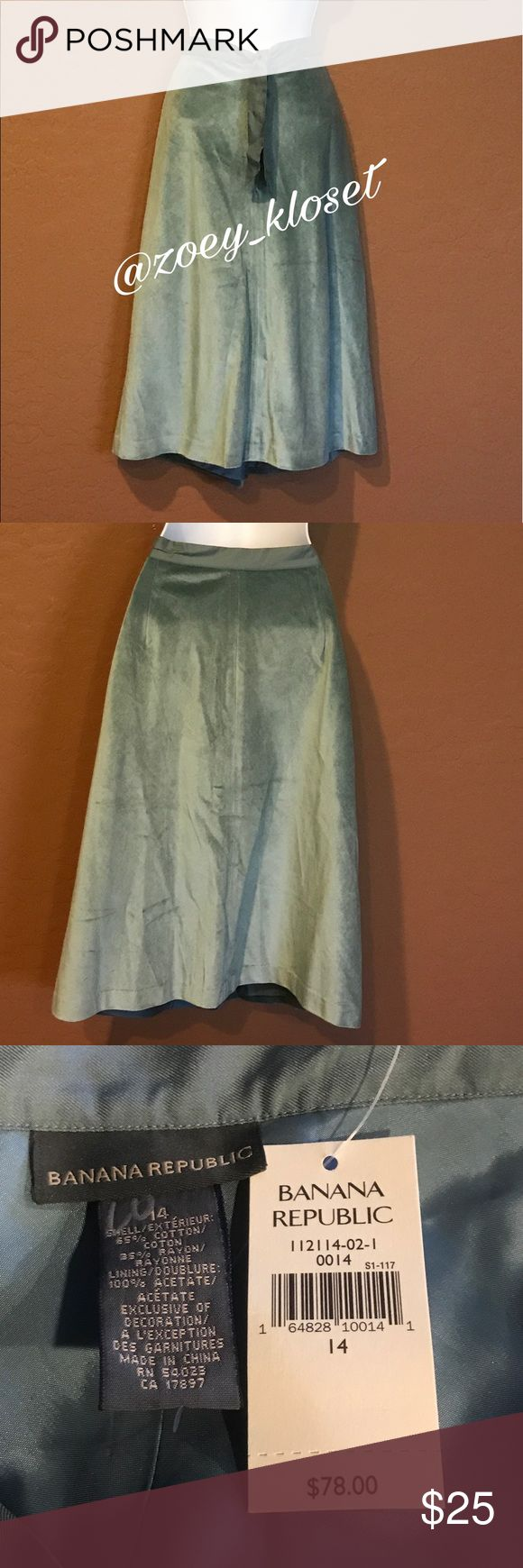 🆕Banana Republic Teal Green Skirt Never Worn, Lined, Stretch, Tie Front. Banana Republic Skirts A-Line or Full