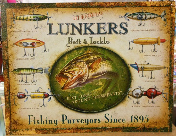 Lunkers Lures Vintage Style Tin Ad Sign Bait Shop Tackle