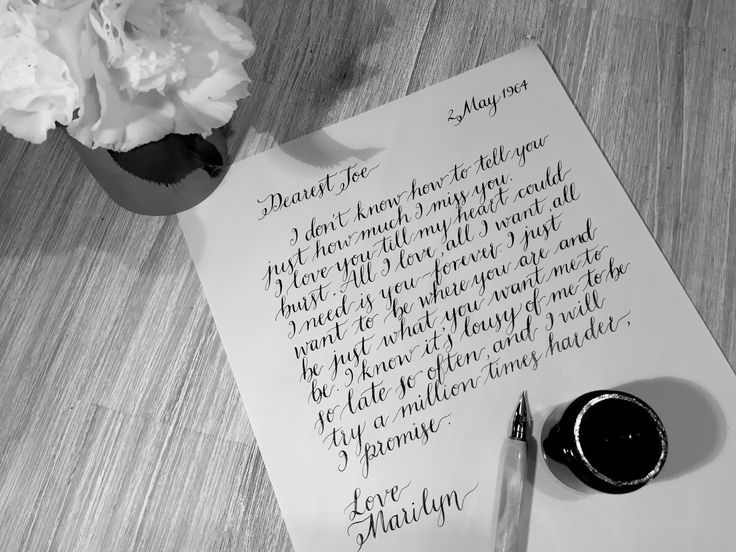 Hand written, calligraphy love letter