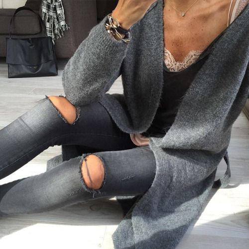 Sneakers and pearls, ripped grey jeans, grey long cardigan, sexy layering, stay warm and be sexy