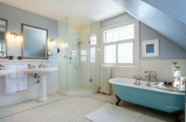 moderne badezimmer einrichten freistehende badewanne blau 2 waschbecken