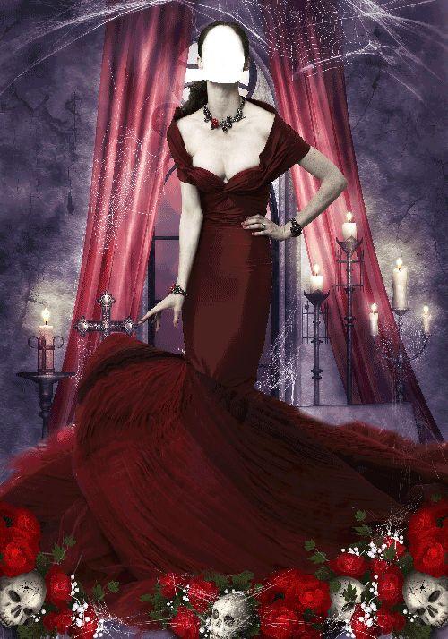 Fotomontaje Chica Gótica con Vestido Rojo