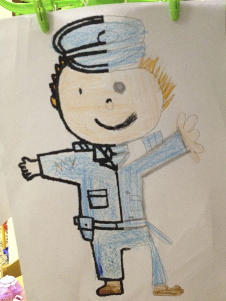 politieagent spiegelend tekenen