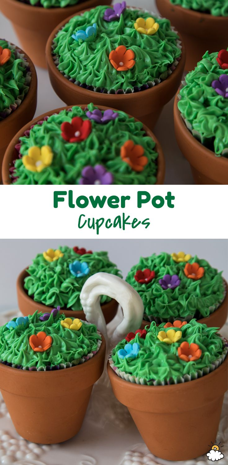 Celebrate spring and Easter with these yummy Flower Pot Cupcakes. Using a small terracotta flower pot, our DIY Flower Pot Cupcakes are a fun way to create a spring-themed cupcake. Creating grass out of frosting and using candy as flowers, our Flower Pot Cupcakes are the perfect treat at home or perfect for your little one to bring to school to share with their classmates!