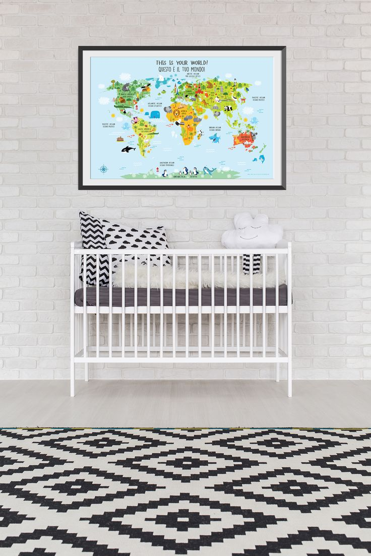 World Map for Kids in English and Italian language will help your child learn both languages. Bilingual children have higher self-esteem and social interaction skills. This kids world map is perfect as nursery decor or playroom decor.