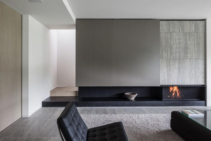 minimal living room fireplace