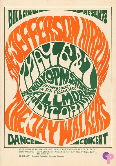 Jefferson Airplane at Fillmore Auditorium 5/6-7/66 by Wes Wilson