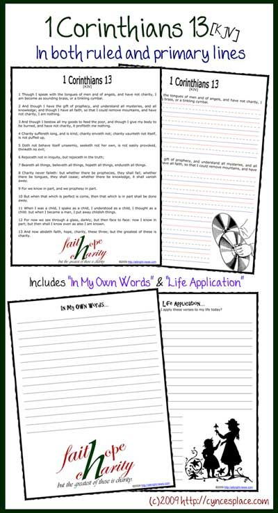 """1 Corinthians 13 copywork - includes """"In My Own Words"""" and """"Life Application"""" prompts, plus memorization cards! #scripture #homeschool"""