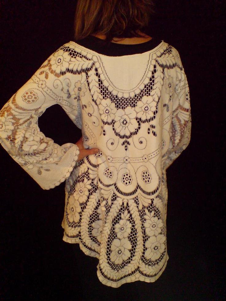 bohemian pullover shirt cotton shabby upcycled clothing boho