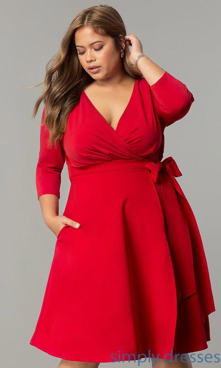 Plus Size Wrap Knee Length Holiday Party Dress  Plus size red