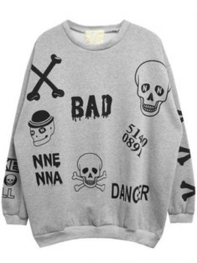 Grey Long Sleeve Skull Letters Print Sweatshirt pictures