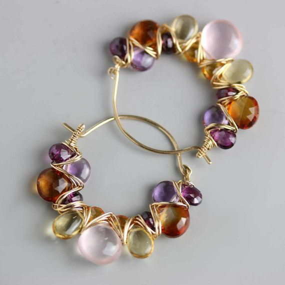Gemstone Hoops in Rose Quartz Citrine and Amethyst by fussjewelry