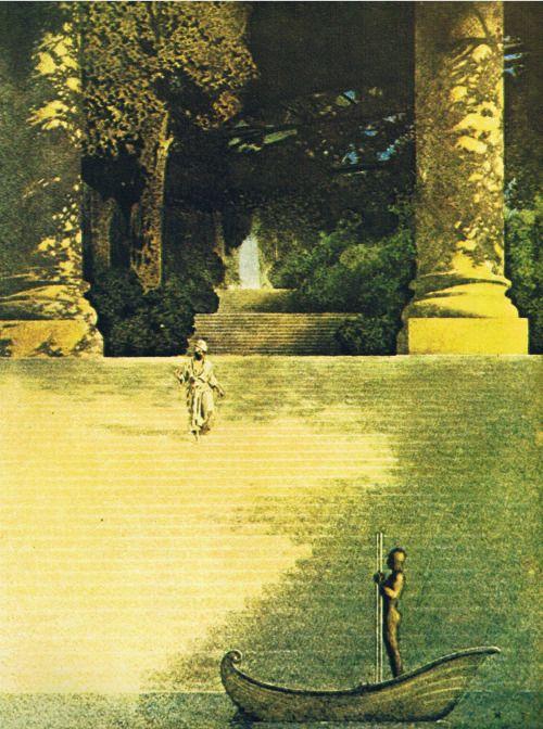 "missanthropicprinciple: "" The Landing of the Brazen Boatman by Maxfield Parrish """