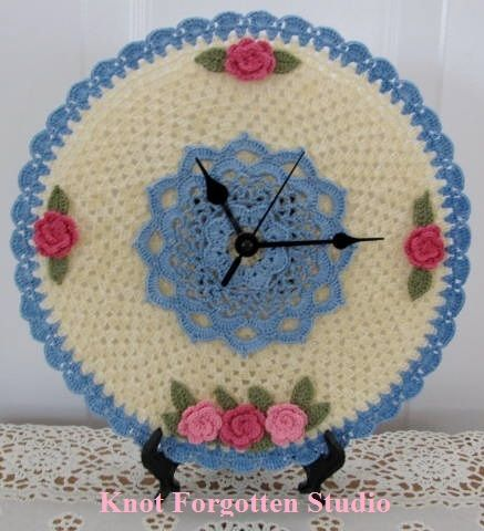 Crochet Clock~ Design and pattern created by Knot Forgotten Studio. Finished March 18, 2014.  https://www.pinterest.com/KnotForgottenSt/knot-forgotten-studio/