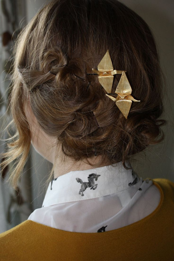 Paper Crane Bobby Pin in Gold by isitsecretisitsafe on Etsy