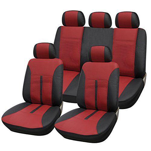WOLTU AS7291 Couverture de siège de voiture,housses de siège universelle en cuir,Noir Bordeaux: WOLTU Ensemble de Housses de protection…