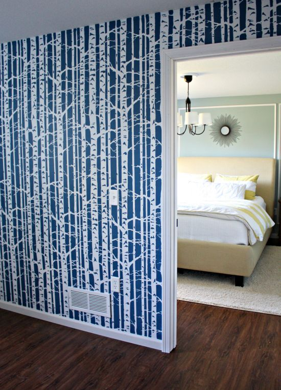 Super cool birch tree stencil on wall!