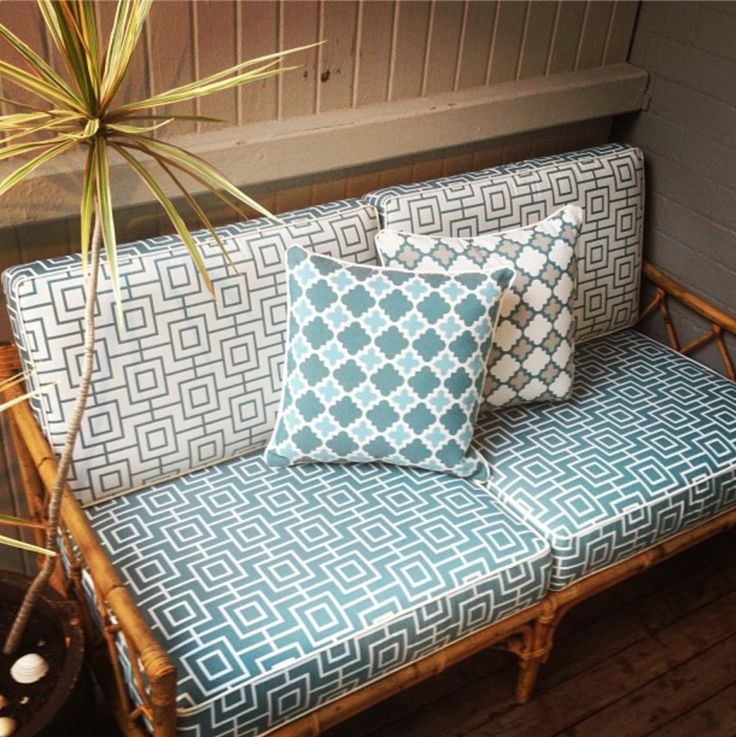 Give new life to an old cane/bamboo lounge set - great for an outdoor space and to play with pattern, creating your own personal style