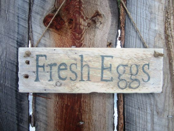 Fresh Eggs Sign Eggs Sign Chicken Coop Sign by BearlyInMontana, $12.00