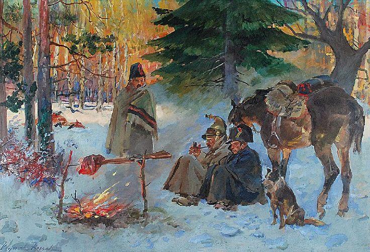 Wojciech KOSSAK (1856-1942)  Epizod z odwrotu Wielkiej Armii, 1934 olej, tektura; 72 x 101 cm; sygn. l. d.: Wojciech Kossak / 1934